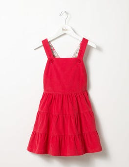 Ladybird Red Twirly Cord Dungaree Dress
