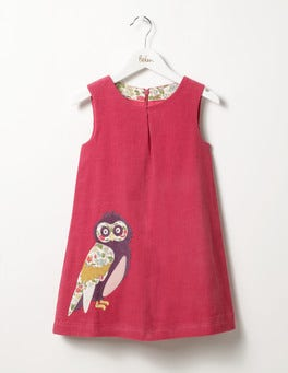 Rose Blossom Pink Owl Woodland Animal Cord Dress
