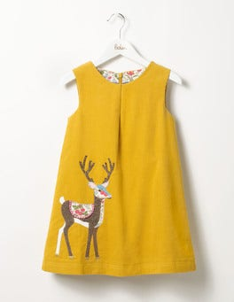 Saffron Yellow Deer Woodland Animal Cord Dress