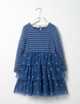 Soft Navy Star Sparkly Party Dress