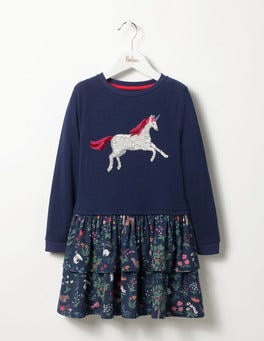 School Navy Tapestry Twirly Sequin Jersey Dress