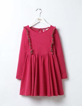 Honeysuckle Pink Ruffle Jersey Dress