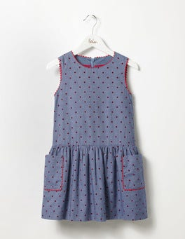 Chambray/Ladybird Red Spot Pinafore Dress
