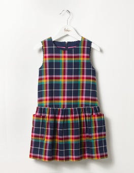 School Navy Rainbow Check Pinafore Dress