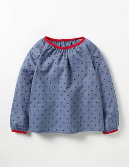Chambray/Ladybird Red Spot Cosy Woven Top