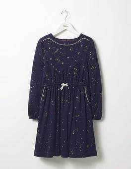 Navy Gold Star Star Print Dress