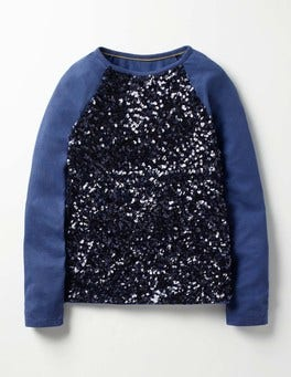 School Navy Sequin Raglan T-shirt