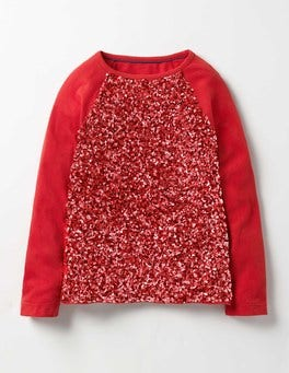Ladybird Red Sequin Raglan T-shirt
