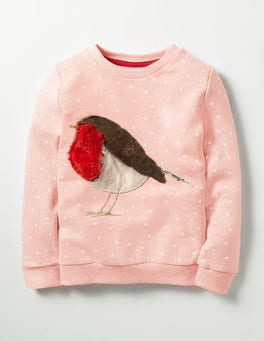 Provence Dusty Pink Robin Fluffy Friends Sweatshirt