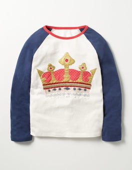 Navy Crown Glitter Raglan T-shirt