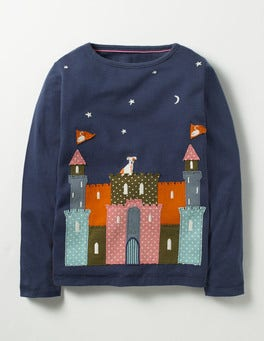 Stormy Blue Castle Magical Appliqué T-shirt