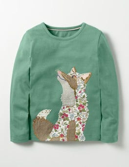 Csarite Green Fox Woodland Patchwork T-shirt