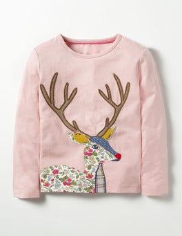 Vintage Pink Deer Woodland Patchwork T-shirt