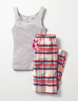 Grey Marl/Check Vest Pyjama Set