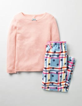 Frost Blue Rainbow Check Cosy Pyjama Set