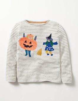 Grey Marl Stripe Trick or Treat T-shirt