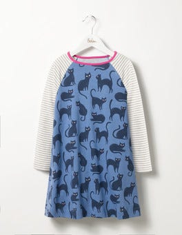 Blue Creepy Cats Glow-in-the-dark Cat Dress