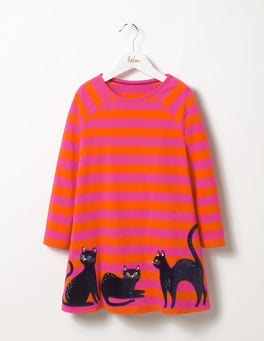 Party Pink/Orange Red Stripe Black Cats Dress