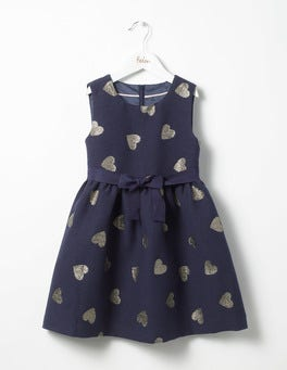 School Navy Hearts Heart Jacquard Dress