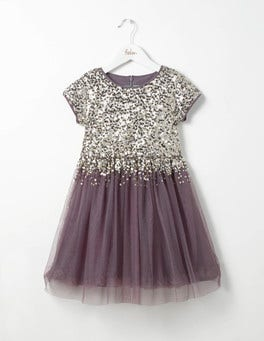 Misty Purple Sequin Tulle Party Dress