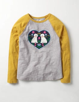 Grey Marl/Saffron Yellow Dogs Animal Raglan T-shirt