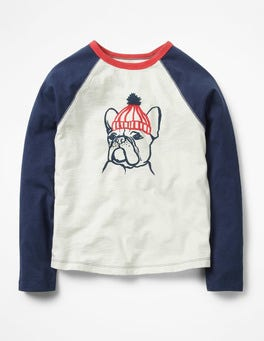 Ecru/Navy Bulldog Animal Raglan T-shirt