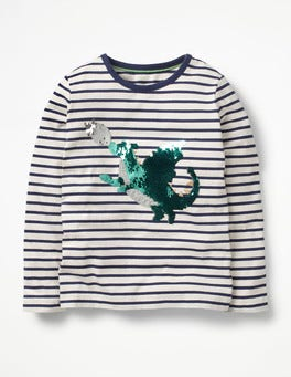 Ecru/School Navy Dragon Sequin Colour Change T-shirt