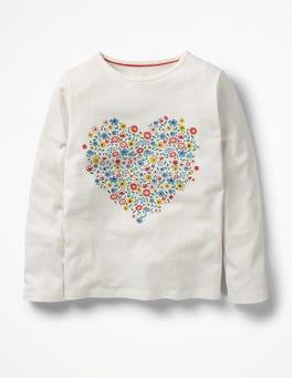 Ecru Heart Floral Graphic T-shirt