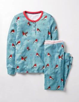 Frost Blue Marl Postie Robin Henley Pyjama Set