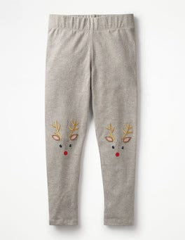 Grey Marl Reindeer Appliqué Leggings
