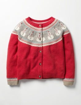 Ladybird Red Snowmen Fair Isle Cardigan