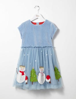 Wren Blue Snowmen Velvet Tulle Dress