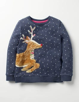 School Navy Deer Fluffy Friends Sweatshirt