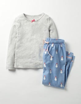 Blue Mini Snowman Cosy Pyjama Set