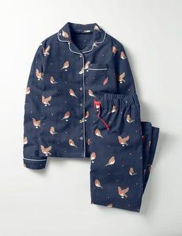 School Navy Postie Robin Woven Pyjama Set