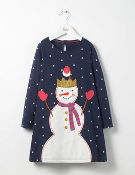 School Navy Snowman Festive Jersey Dress
