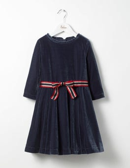 School Navy Velvet Skater Dress