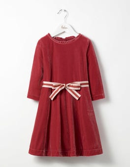 Autumn Pink Velvet Skater Dress