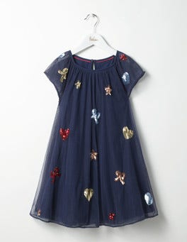 School Navy Party Embellished Dress
