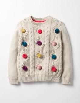Ecru Marl Fun Cable Sweater