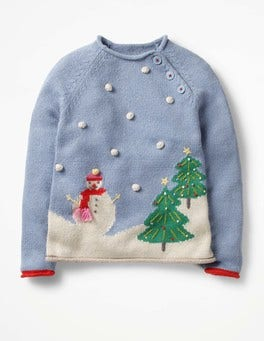 Wren Blue Christmas Scene Christmas Spirit Sweater
