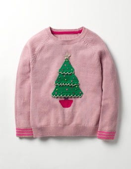 Vintage Pink Christmas Tree Fun Festive Sweater