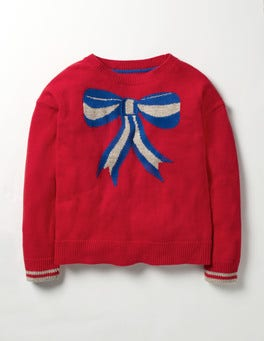 Beatnik Red Knitted Bow Sweater
