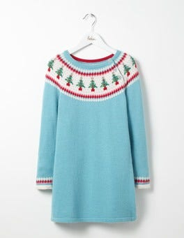 Frosted Blue Christmas Trees Festive Fair Isle Dress