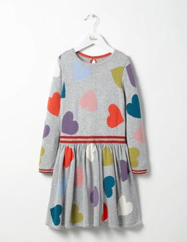 Grey Marl Multi Hearts Rainbow Hearts Knitted Dress