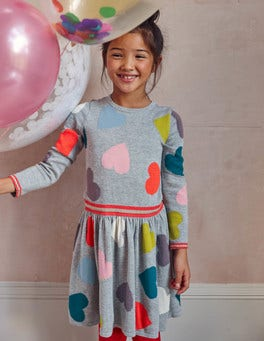 Rainbow Hearts Knitted Dress