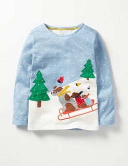 Wren Blue Ski Scene Sleigh Away T-shirt