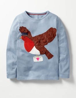 Wren Blue Robin Christmas Storytelling T-shirt