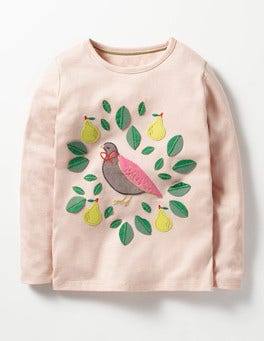 Provence Dusty Pink Partridge Christmas Storytelling T-shirt