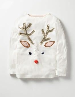 Ecru Reindeer Sequin Festive T-shirt
